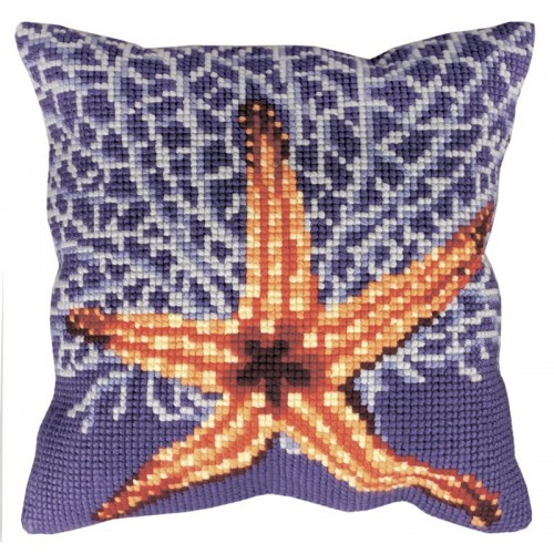 Cojín Estrella y Coral Blanco