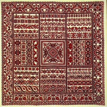 Rapsodia en Rojo, Sampler de Cintas Sampler Cove Designs SC1013 Rhapsody in Red, Ribbon Sampler