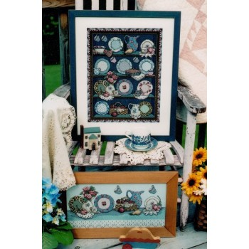 Porcelana Azul y Tarta de Cerezas