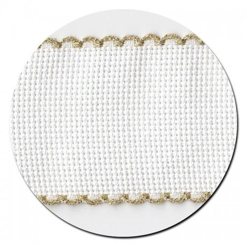 Entredos Blanco con Ribete Dorado ancho 5 cm.