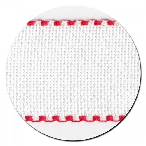 Entredos Blanco con Ribete Rojo ancho 5 cm.