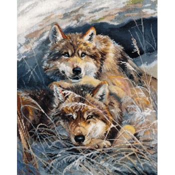 Lobos Descansando en la Nieve