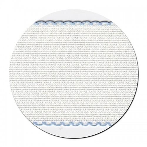 Entredos Blanco con Ribete Celeste ancho 8 cm.