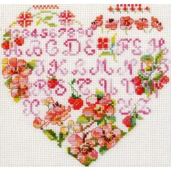 Abecedario Corazón Flores y Moras