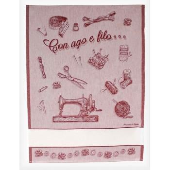 Paño de Cocina con Aguja e Hilo Rojo BM Ricami 397-14