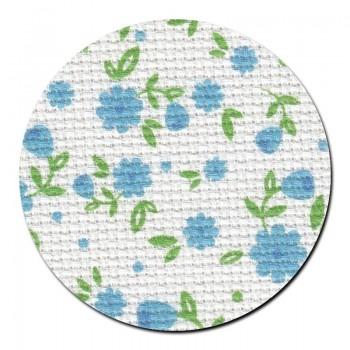 Tela aida 14 ct. Pequeñas Flores Azules