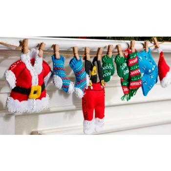 Adornos Fieltro El Tendedero de Santa Claus Bucilla Plaid 86683 Santa's Laundry