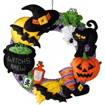 Corona Poción de Brujas Bucilla Plaid 86563 Witch's Brew Wreath