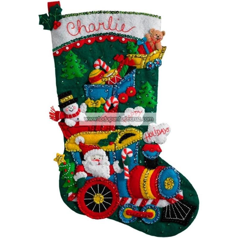 Bota Fieltro el Tren de Papá Noel Bucilla Plaid 86708 Choo Choo Santa Stocking