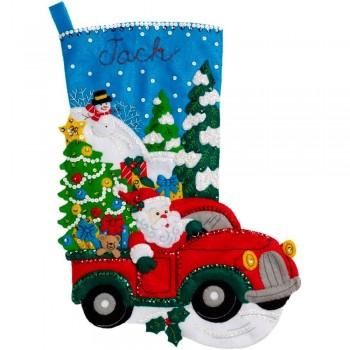 Bota Fieltro Paseo Navideño Bucilla 86663 Christmas Drive Stocking