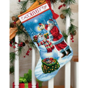Bota Un brillo Festivo Dimensions 70-08952 Holiday Glow Stocking