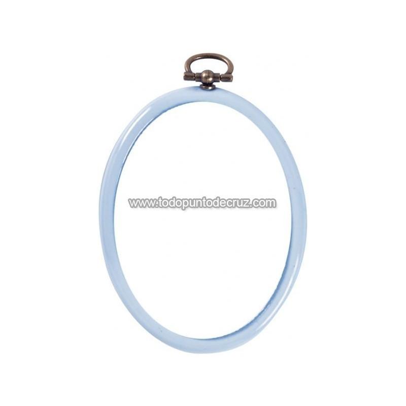 Marco/bastidor flexible de silicona Permin ovalado celeste