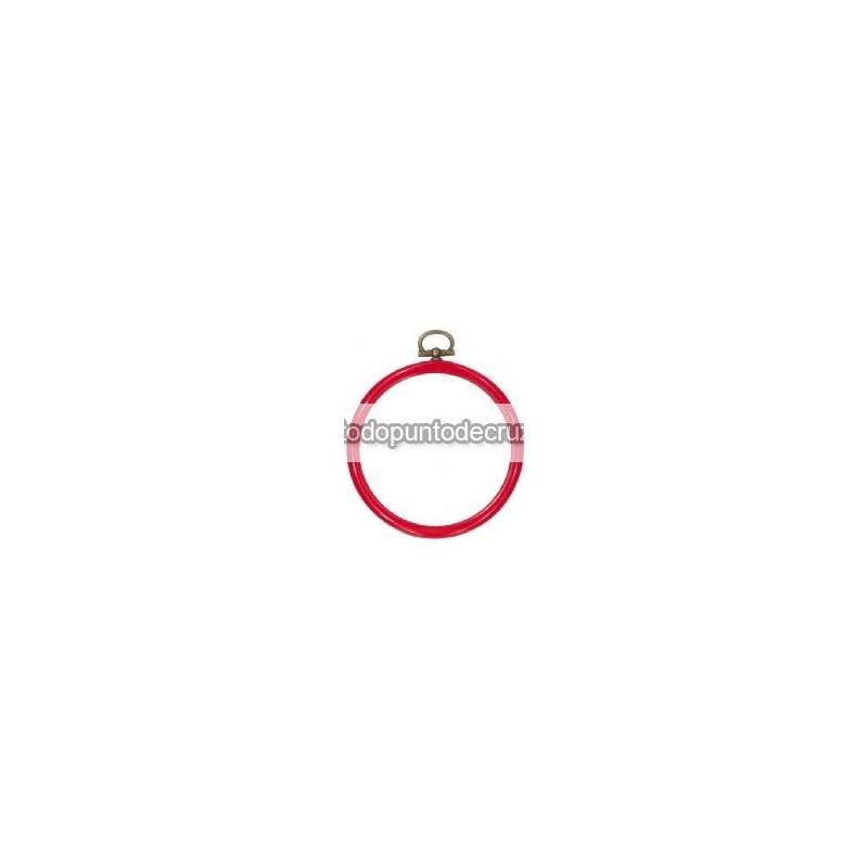 Marco/bastidor flexible de silicona Permin redondo rojo