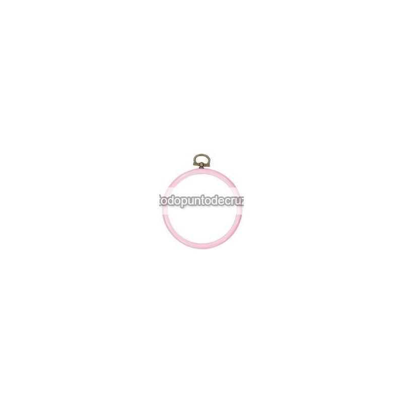 Marco/bastidor flexible de silicona Permin redondo rosa