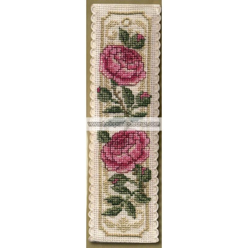 Marcapáginas Rosa de Damasco Textile Heritage BKDR Damask Rose Bookmark