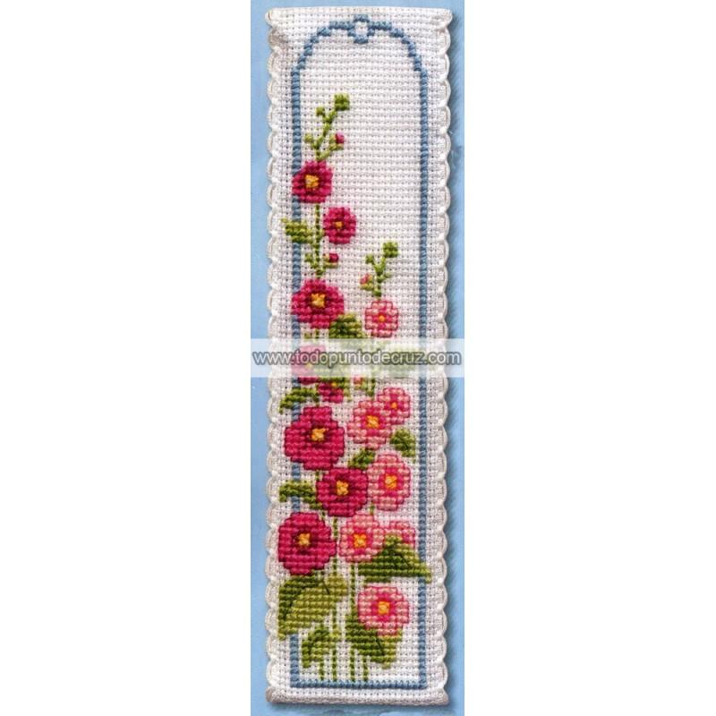 Espuela del Caballero marcapáginas Textile Heritage BKHO Hollyhocks Bookmark