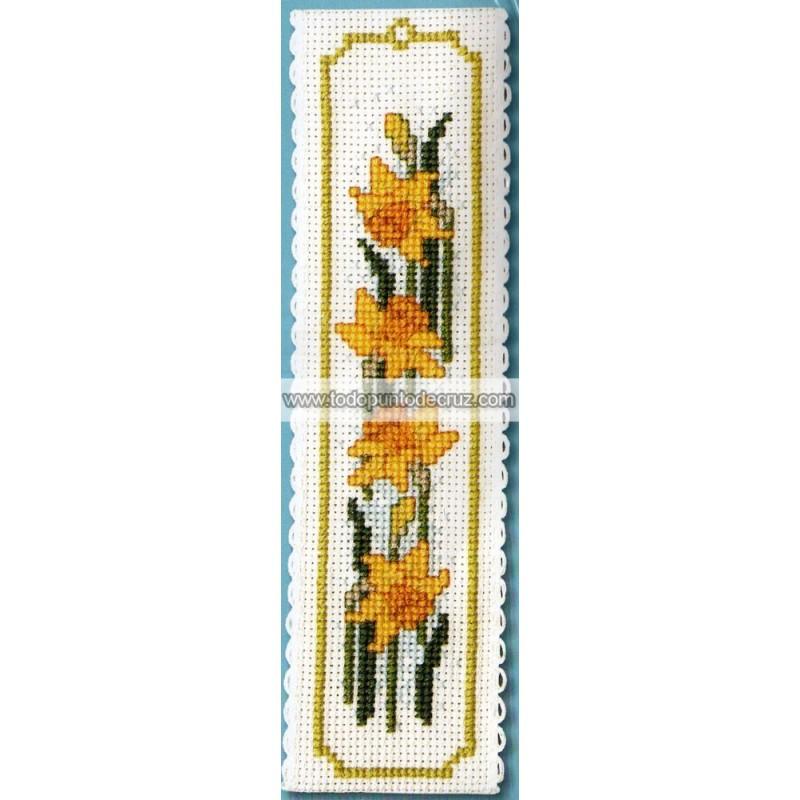 Narcisos marcapáginas Textile Heritage BKDL Daffodils bookmark