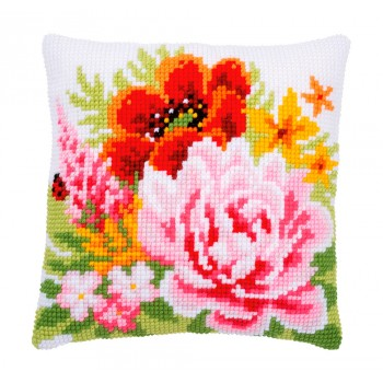 Cojín primaveral amapola y peonía Vervaco PN-0184990 Colourful Flowers pillow