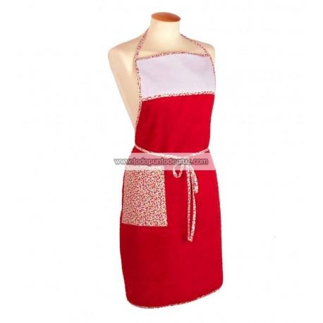 Deltantal rojo con vivo de manzanitas Terry Towel