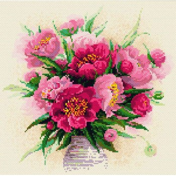 Jarrón de Peonías con Diamanes RIOLIS AM0009 Peonies in a vase diamonds