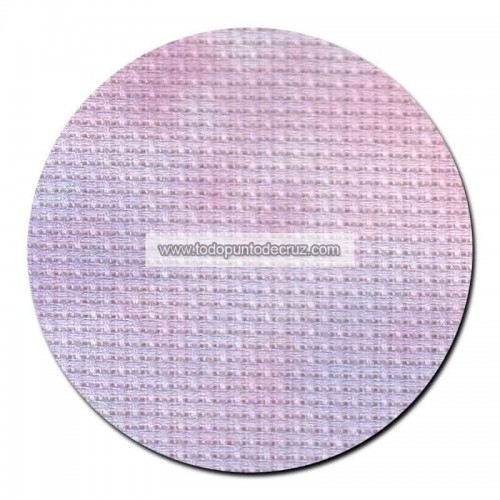 Tela aida 14 ct. Azul/Rosa Marmolado