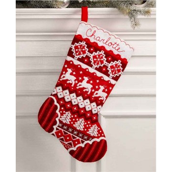 Bota Fieltro Navidad Nórdica Bucilla Plaid 89066 Nordic Christmas felt stocking