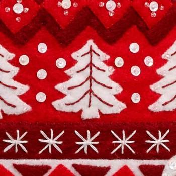 Bota Fieltro Navidad Nórdica Bucilla Plaid 89066 Nordic Christmas felt stocking