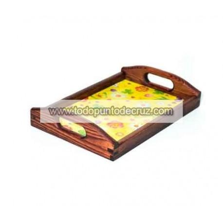 Bandeja de madera color caoba