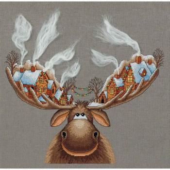 Reno con casitas navideñas Panna ZM-7103 Christmas Moose