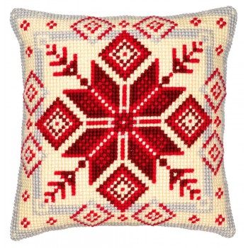 Cojín Copo de Nieve Nórdico Vervaco PN0008494 Nordic Snowflake Pillow