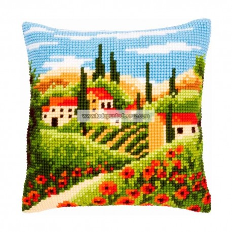 Cojín Paisaje en la Toscana Vervaco PN-0144846 Tuscan Landscape Pillow