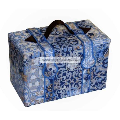 Baúl Costurero Mosaico Azul