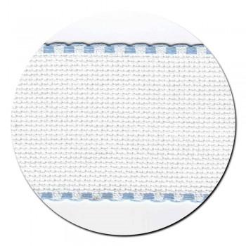 Entredos Blanco con ribete celeste ancho 5 cm.