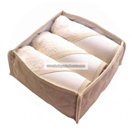 Juego toallas invitados con cestito BM Ricami BA215