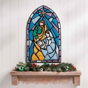 Colgador Fieltro Vidriera Nacimiento Bucilla 89271E Stained Glass Nativity Felt Wall Hanging