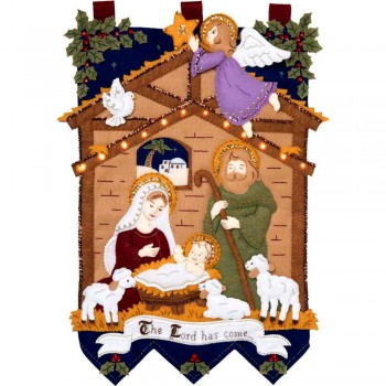 Colgador Fieltro Nacimiento con Luces Bucilla 89220E Away in the Manger Felt Wall Hanging