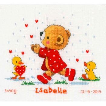 Natalicio Osito y Corazones Vervaco PN-0166613 Bear and Hearts Birth Sampler
