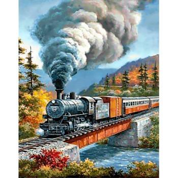 Tren de Vapor con Diamantes Wizardi Diamond WD098 Train Crossing