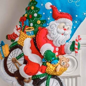 Bota Fieltro Santa Repartidor Bucilla Plaid 89249E Santa On the Go Felt Stocking