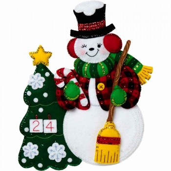 Calendario de adviento Fieltro muñeco de Nieve Bucilla Plaid 89266e Felt Advent Calendar Snowman Countdown