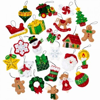 25 mini adornos fieltro Navidad Bucilla Plaid 89222E 25 mini felt christmas ornaments