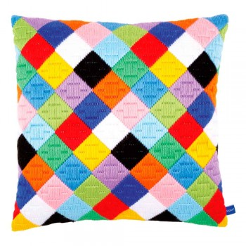 Cojín diamantes de colores Puntada Larga Vervaco PN-0156326 Colourful Diamonds Long Stitch Pillow