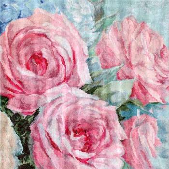 Acuarela de Rosas En Rosa Pálido Letistitch LETI928 Pale Pink Roses