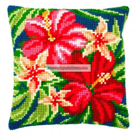 Cojín Hibiscus Vervaco PN-0179963 Botanical Flowers pillow cushion