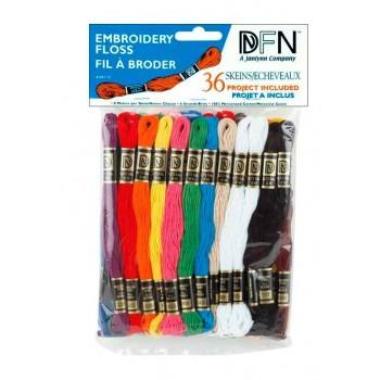 Lote 36 madejas mouliné Colores primarios Janlynn 3001-25 Primary floss