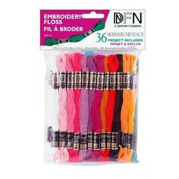 Lote 36 madejas mouliné Colores Surtidos Janlynn 3001-30 Pastel floss