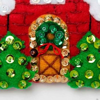 Adornos Fieltro Pueblo Navideño Bucilla Plaid 89218E Christmas Village felt