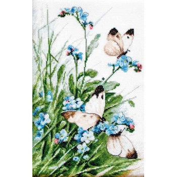 Mariposas y Flores Azules Letistitch LETI939 Butterflies and bluebird Flowers