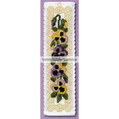 Pensamientos Victorianos: Marcapáginas Textile Heritage BKVP Victorian Pansies Bookmark