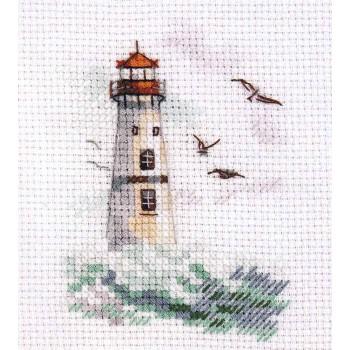 Pequeño Faro Alisa 0-223 Waves on the Sea White Lighthouse